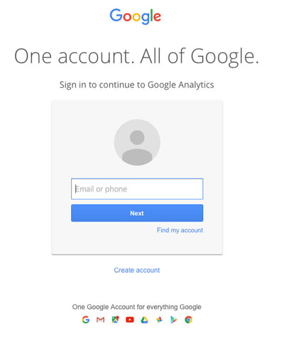 Google Analytics Sign in screen