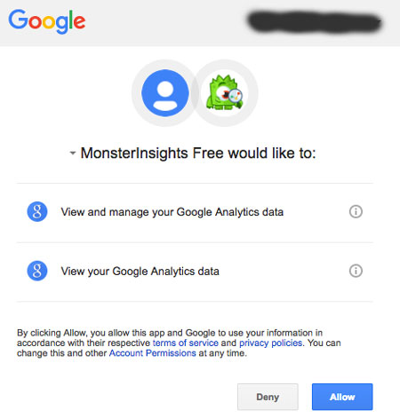 Allow monsterinsights to access google