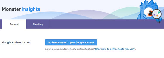 Authenticating your google analytics from settings