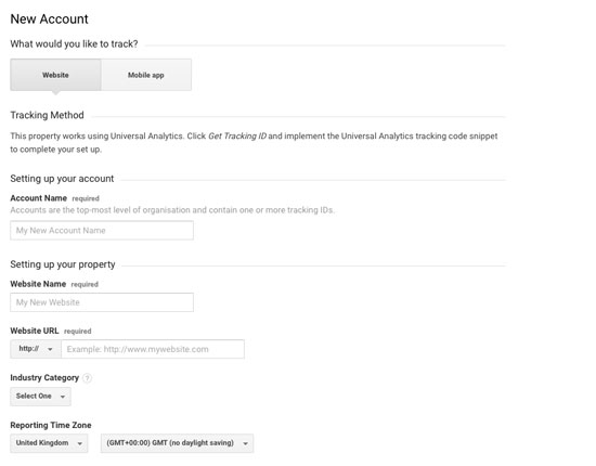 Google Analytics Setting up account screen 1