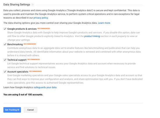 Google Analytics Setting up account screen 2
