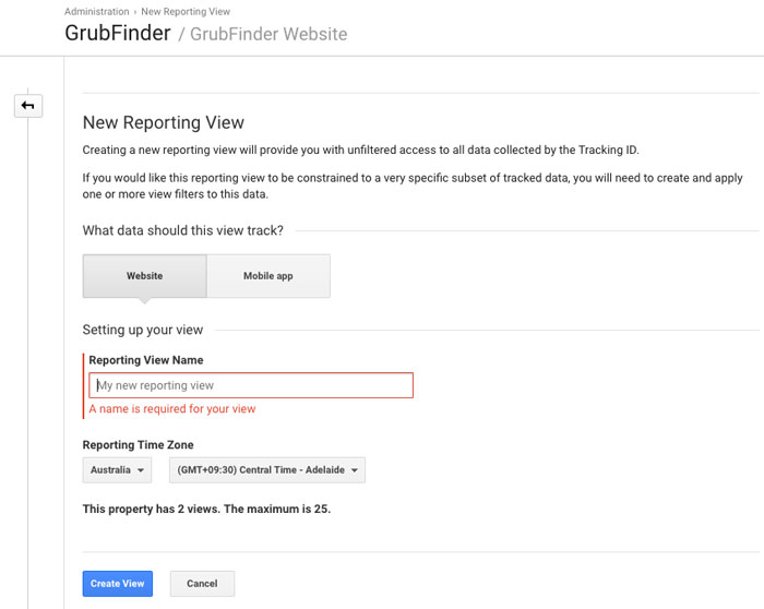 New reporting view - google analytics
