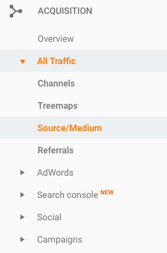 Acquisition menu - Google Analytics