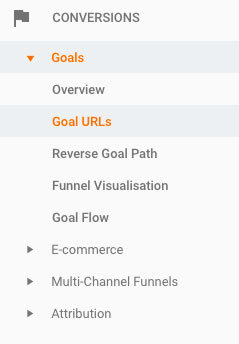 Conversion menu - google analytics