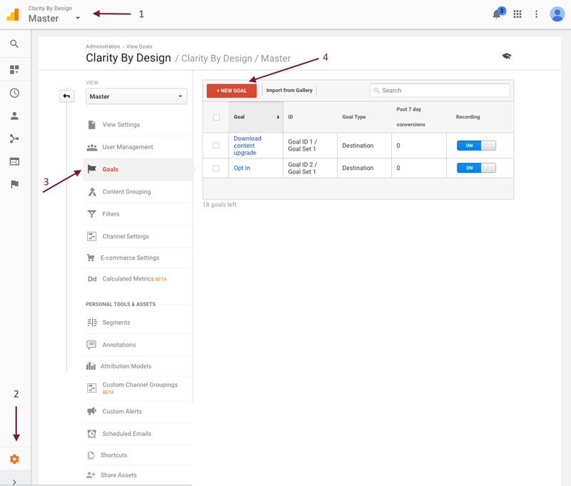 Create Goal in Google Analytics